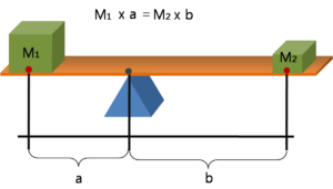 mass1 at distance a to the left of the fulcrum is balanced by mass2 at distance b to the right